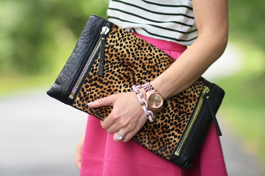 Vince Camuto oversized leopard calf hair clutch with gold zipper detail, Michael Kors rose gold oversized boyfriend watch, chunky pave chain link bracelet