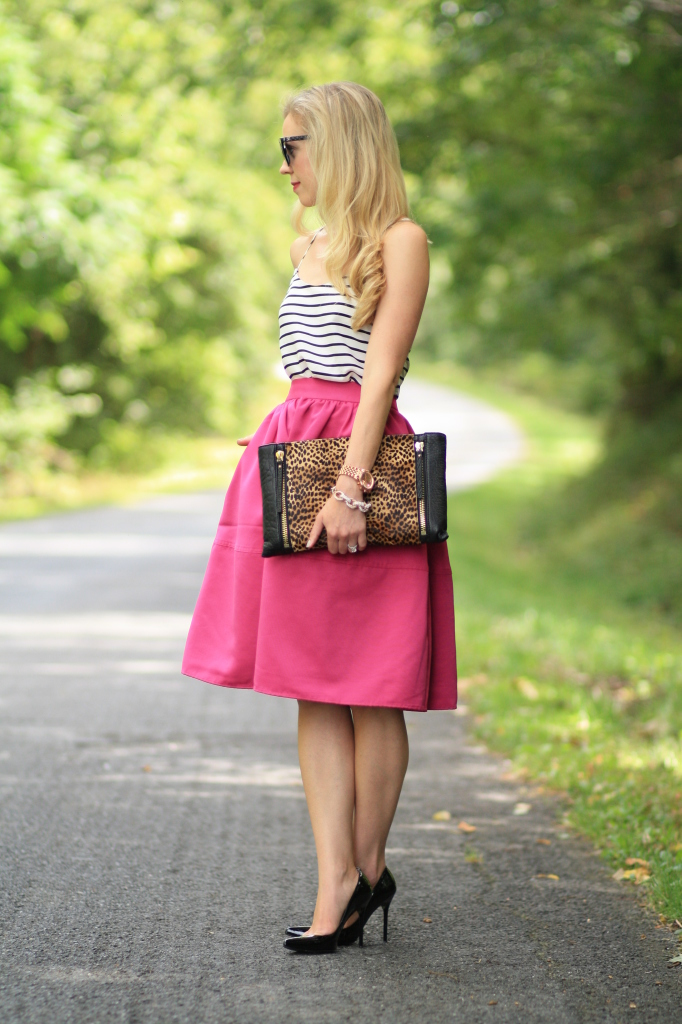 black and white striped camisole, Express fuchsia pink full midi skirt, retro style outfit, leopard clutch, Stuart Weitzman black patent Nouveau pumps, leopard and stripes, pattern mixing