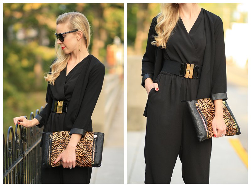 black leather trim blazer, black jumpsuit with blazer, transitional fall outfit, wide belt over jumpsuit, Vince Camuto leopard Baily clutch, Chanel black cateye sunglasses