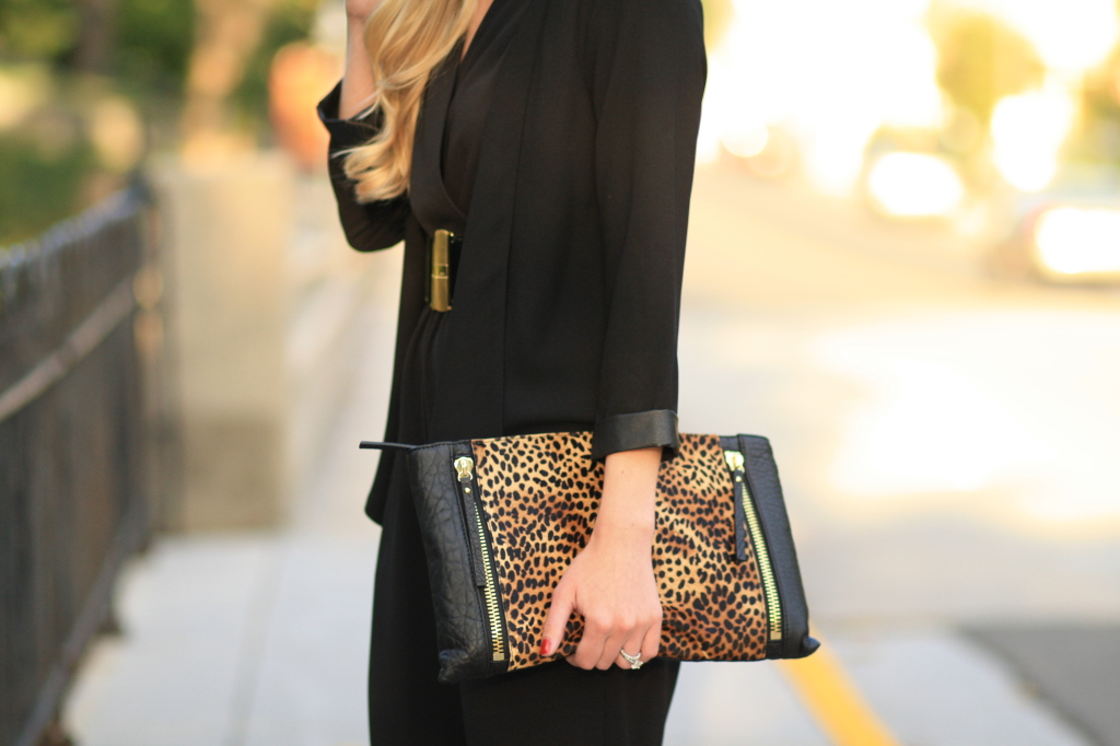 black leather trim blazer, oversized leopard clutch, calf hair, Vince Camuto