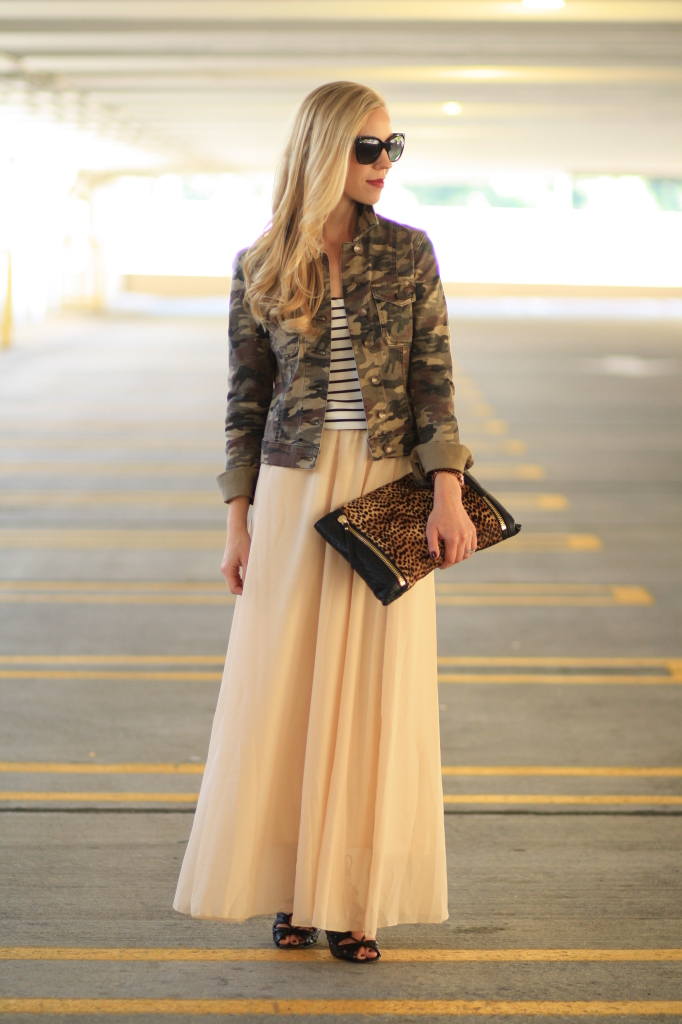 Pattern Trio Camo Jacket Striped Tank Pleated Maxi