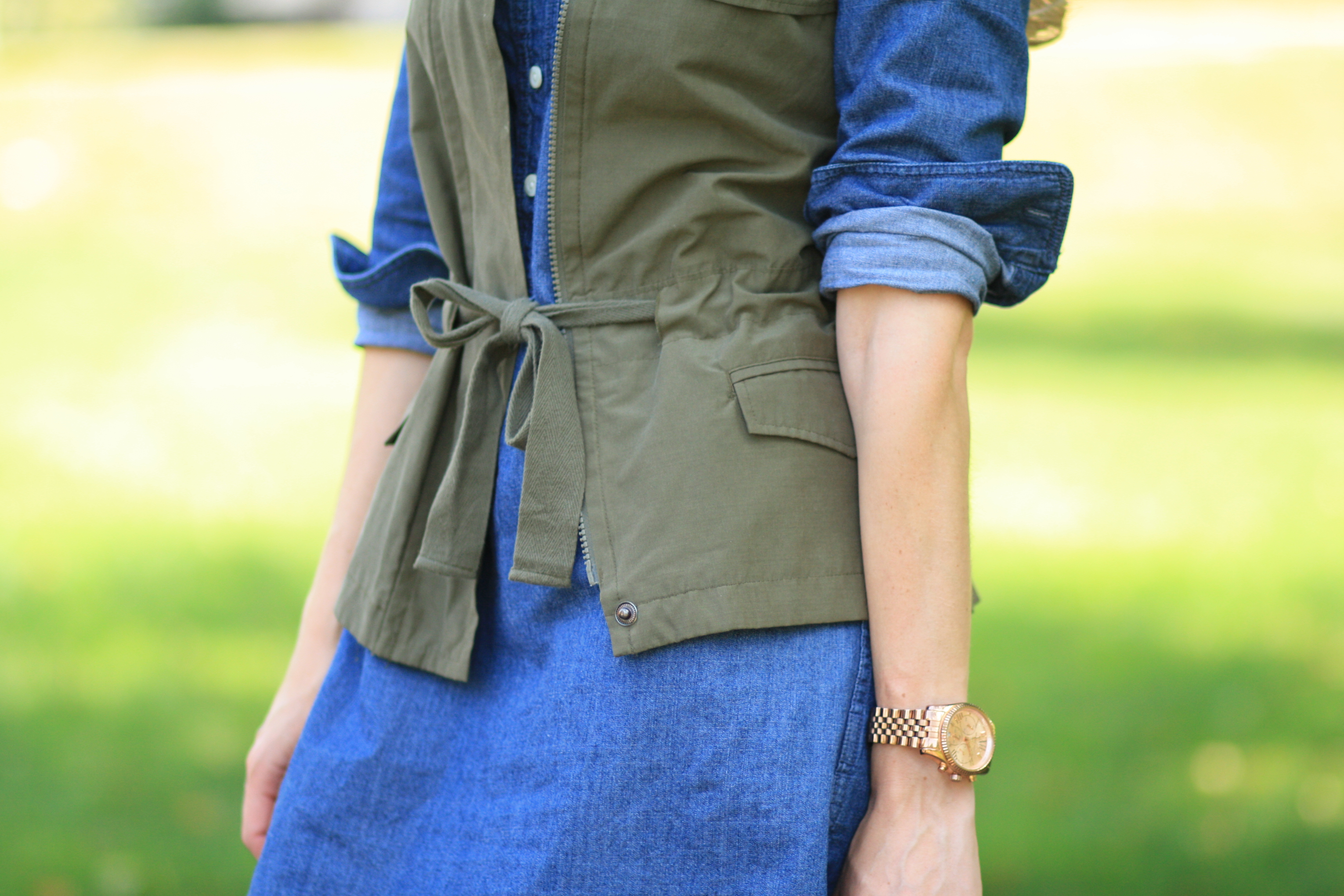 a walk in the park denim shirt dress utility vest