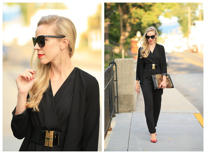 oversized Chanel cateye sunglasses, leather trim blazer, black jumpsuit, how to wear jumpsuit for fall, fall transition outfit, leopard clutch, Stuart Weitzman red Nouveau patent pump