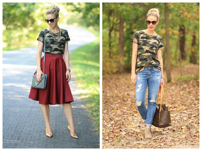 two ways to wear a camo tee shirt, camo tee with full midi skirt, camo tee with destructed denim AG stilt cigarette jean, suede ankle boots with cuffed jeans, Louis Vuitton totally MM tote