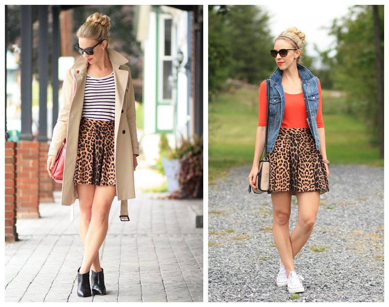 4fde1f915c two ways with leopard skater skirt, denim vest, black and white striped tee  with