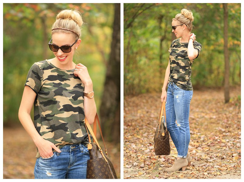 vintage camo tee, metallic layered necklace, AG stilt cigarette 17 year riot, destructed denim, cuffed jeans with suede ankle boots, Louis Vuitton large tote