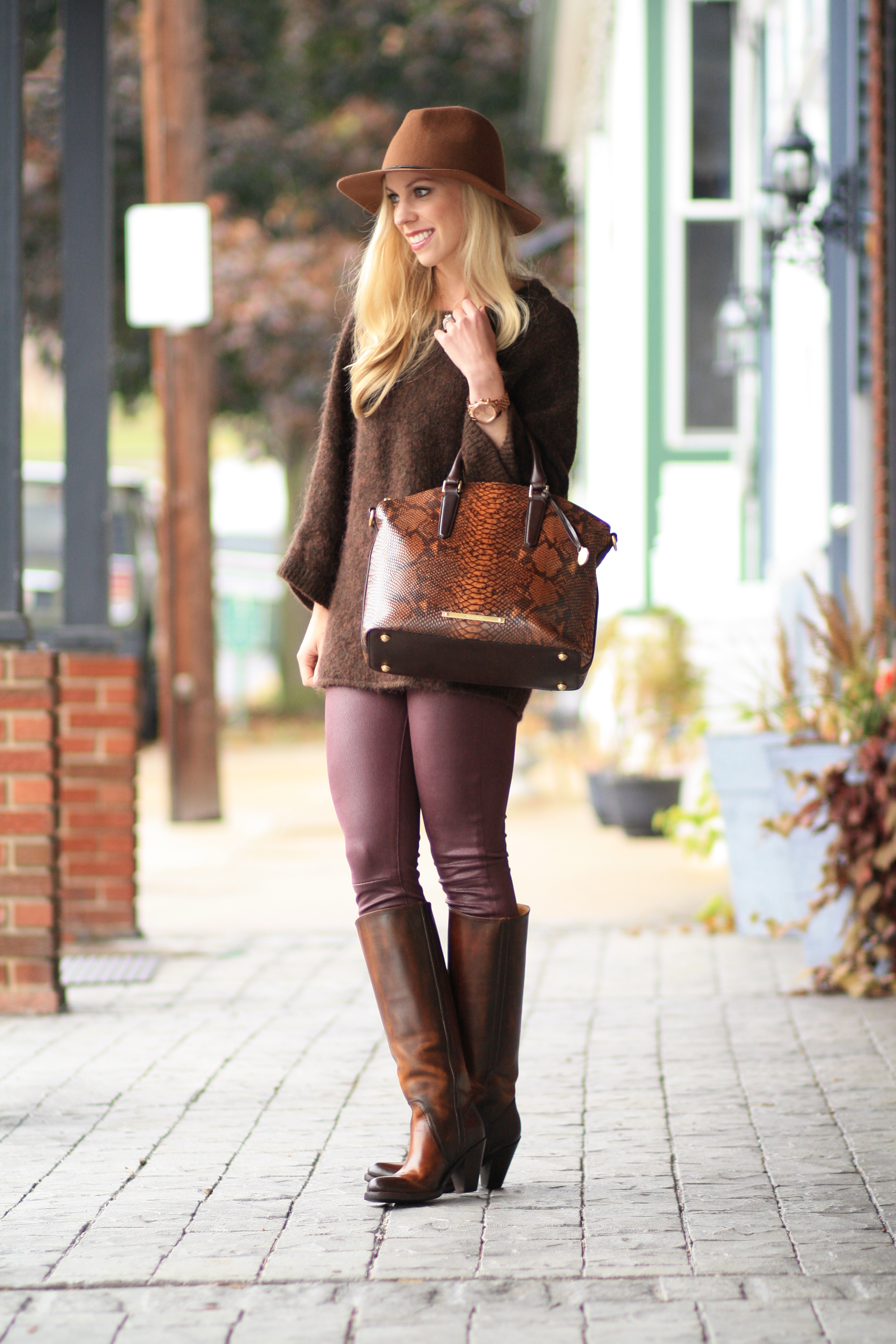 { Brown & Burgundy: Oversized sweater, Leather skinny ...