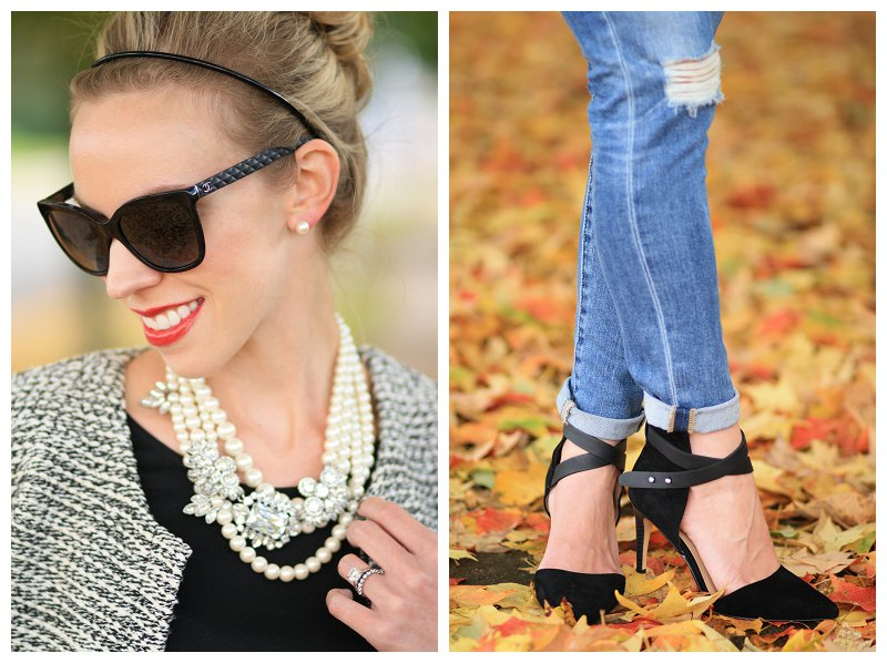 Chanel black cateye sunglasses with leather trim, pearl statement necklace, layered pearl necklace, red lip, black and white tweed, distressed denim with suede ankle strap pumps, cuffed denim with ankle strap heels