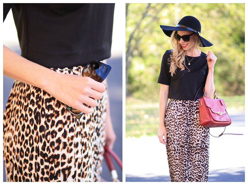 Chanel cateye sunglasses, leopard midi skirt, red leather crossbody bag, H&M black wool floppy hat, crop top and midi skirt