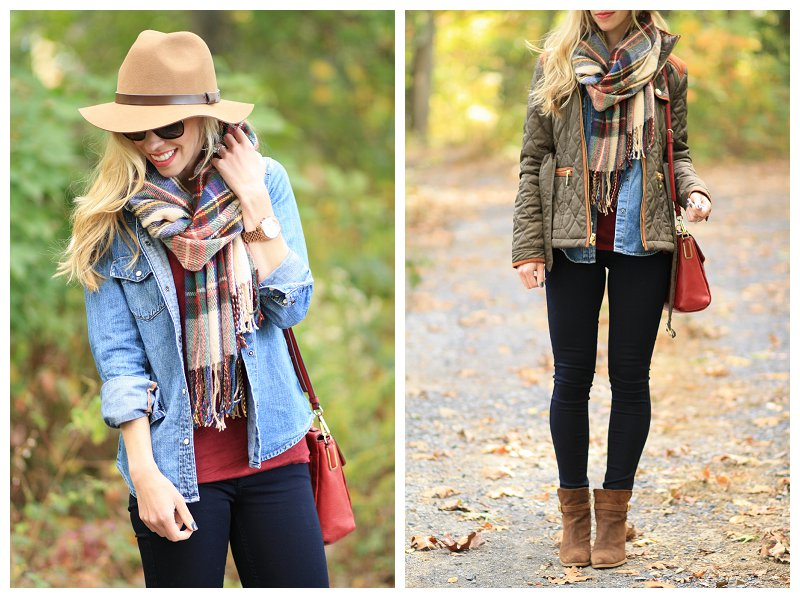 Weekend Fall Fillment Field Jacket Plaid Blanket Scarf