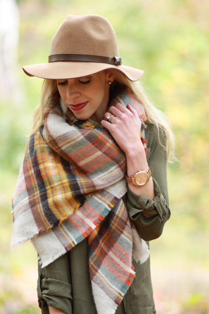 0f2b903d56680 H&M camel wool panama hat, Zara oversized plaid blanket scarf, olive green  tunic top, how to tie a blanket scarf, how to style an oversized blanket  scarf, ...