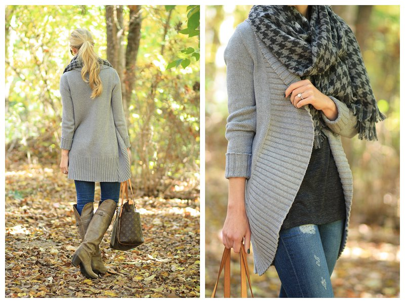 J. Crew oversized gray cocoon sweater, AG Adriano Goldschmied distressed legging jean, FRYE jane tall gray leather over the knee boots, J. Crew gray houndstooth wool oversized scarf, fall layers