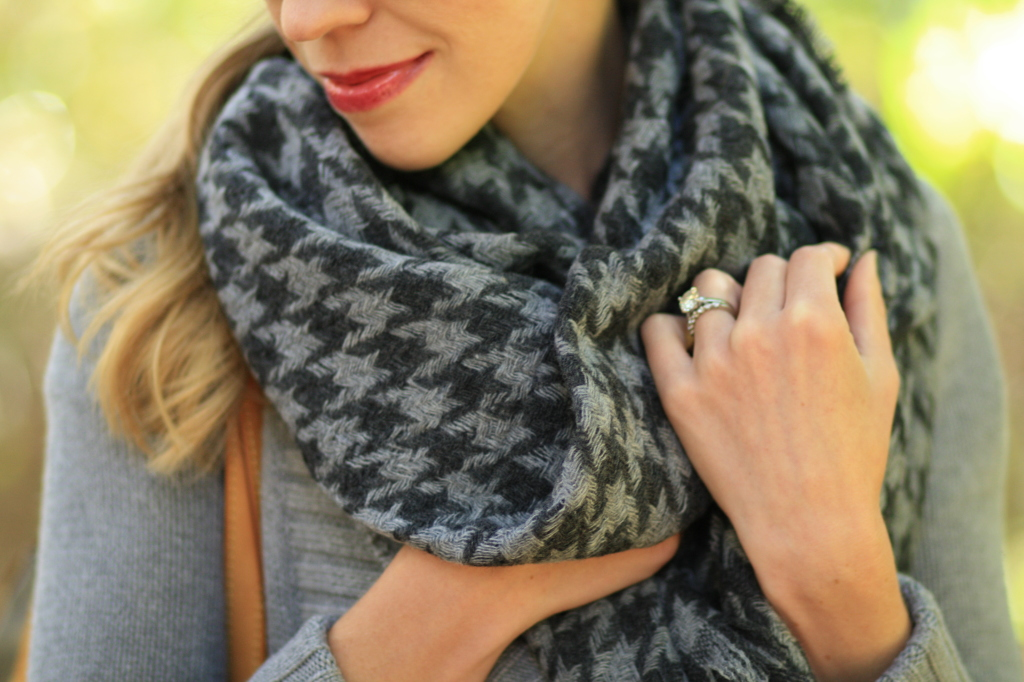 J. Crew oversized gray houndstooth wool scarf, blanket scarf, Bare Minerals Moody Berry buttercream lip gloss, how to style a blanket scarf