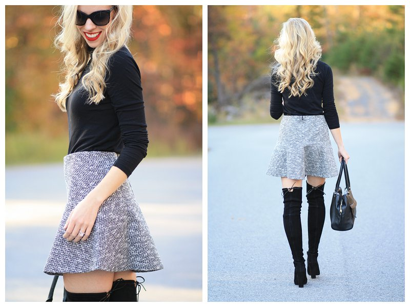 LOFT tweed flounce mini skirt, Stuart Weitzman black suede Highland over the knee boots, black turtleneck, Chanel black cateye sunglasses, over the knee boots with bare legs and mini skirt