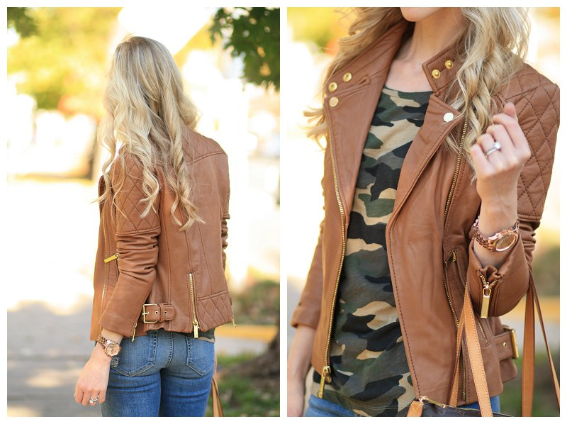 Michael Kors tan quilted leather moto jacket, camel leather jacket, J. Crew vintage camo tee, tan leather jacket with gold hardware