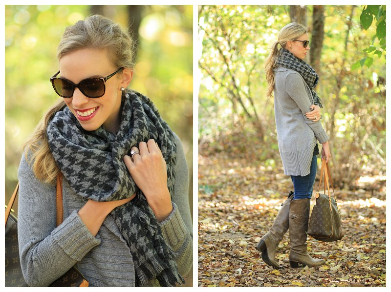 Prada tortoiseshell sunglasses, J. Crew oversized gray houndstooth wool blanket scarf, gray cocoon sweater, Frye Jane Tall over the knee boot, gray boots, legging denim, cozy layers, fall layers, oversized sweater outfit
