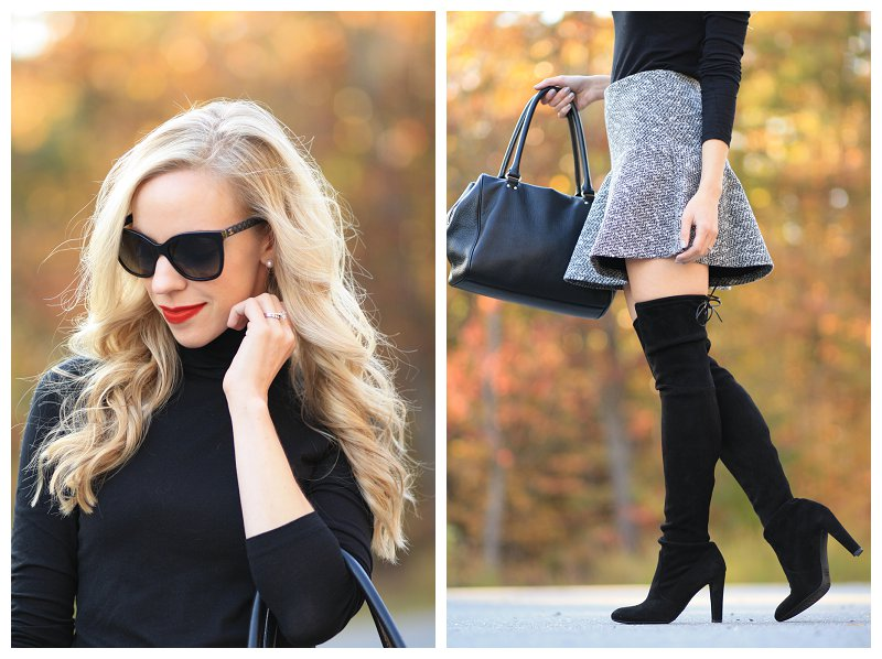 Stila Beso stay all day lipstick, Chanel black oversized cateye sunglasses, tweed mini skirt, LOFT flounce skirt, Stuart Weitzman black suede Highland over the knee boots with skirt