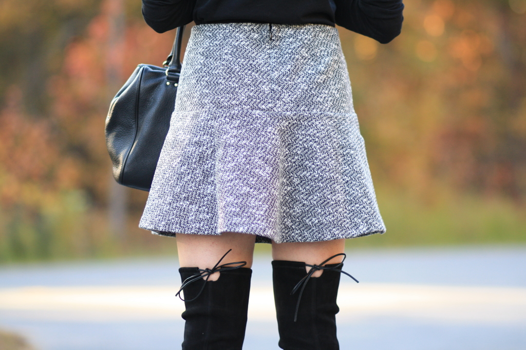 Stuart Weitzman black suede highland boot, lace up OTK boots, tweed mini skirt, bare legs and OTK boots