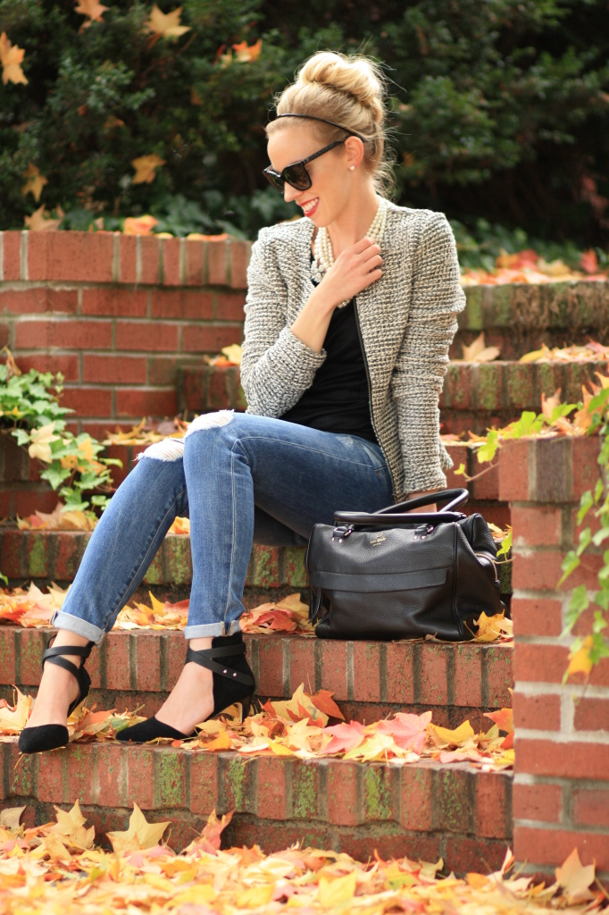 black and white tweed peplum jacket, AG Adriano Goldschmied stilt cigarette jean, distressed denim, suede ankle strap pumps, Chanel-inspired outfit, black Kate Spade leather bag