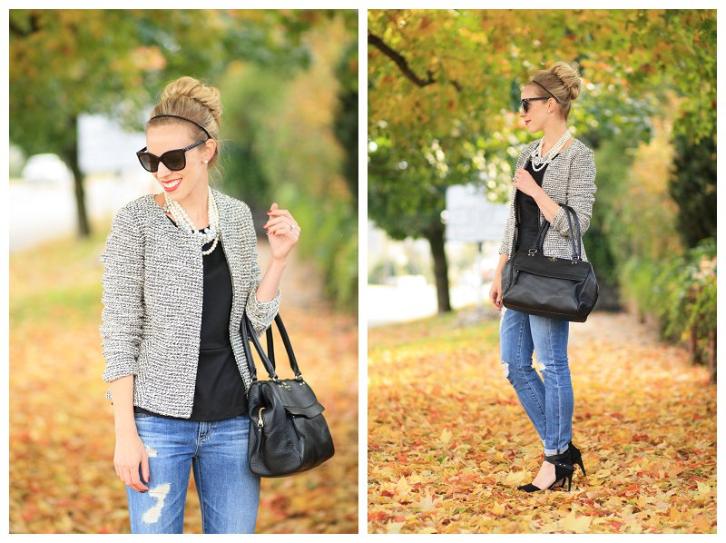 black and white tweed peplum jacket, Chanel sunglasses, pearl statement necklace, distressed denim with ankle strap pumps, Chanel-inspired style, Kate Spade black leather bag, suede ankle strap heels