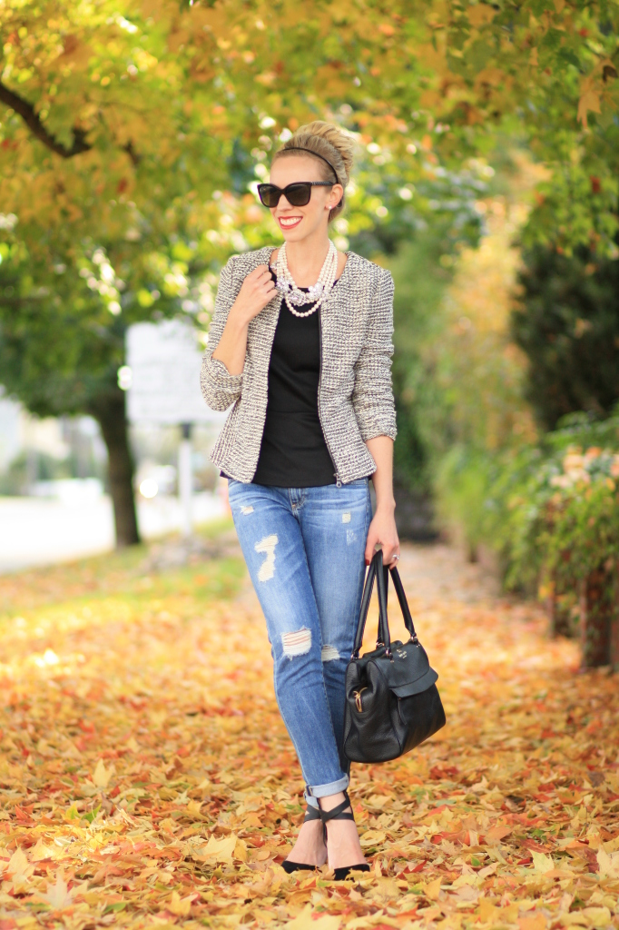 black and white tweed peplum jacket, pearl statement necklace, layered pearl necklace with tweed, distressed denim, AG Adriano Goldschmied stilt cigarette, suede ankle strap pumps, Chanel-inspired outfit