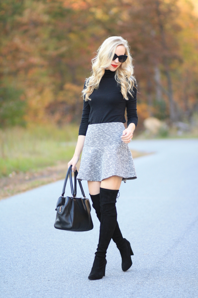 black fitted turtleneck, J. Crew tissue weight turtleneck, LOFT tweed flounce mini skirt, Stuart Weitzman Highland boot, over the knee boots with bare legs and skirt, black suede OTK boots, classic fall look, mini skirt and boots