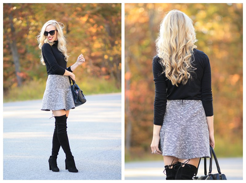 black turtleneck, LOFT tweed flounce skirt, tweed mini skirt and OTK boots, Stuart Weitzman Highland black suede over the knee boots, boots and bare legs