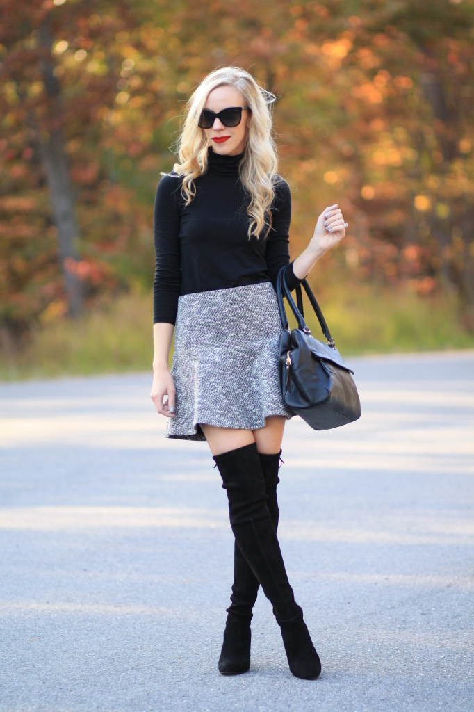 2b4dba1f5 black turtleneck, black and white tweed flounce mini skirt, Stuart Weitzman  Highland black suede over the knee boot, over the knee boots with mini skirt  and ...