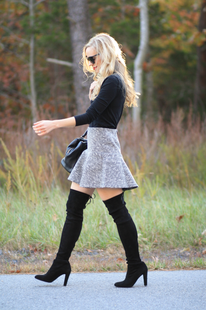 black turtleneck, tweed mini skirt, LOFT tweed flounce skirt, Stuart Weitzman Highland black suede over the knee boot, OTK boots with skirt, bare legs and Stuart Weitzman Highland boots