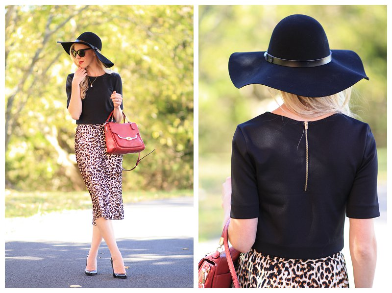 black wool floppy hat, black crop top, leopard midi skirt, crop top and midi skirt outfit, red crossbody bag, Stuart Weitzman black patent Nouveau pump