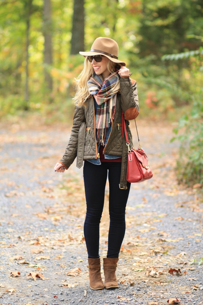 Weekend Fall Fillment Field Jacket Plaid Blanket Scarf
