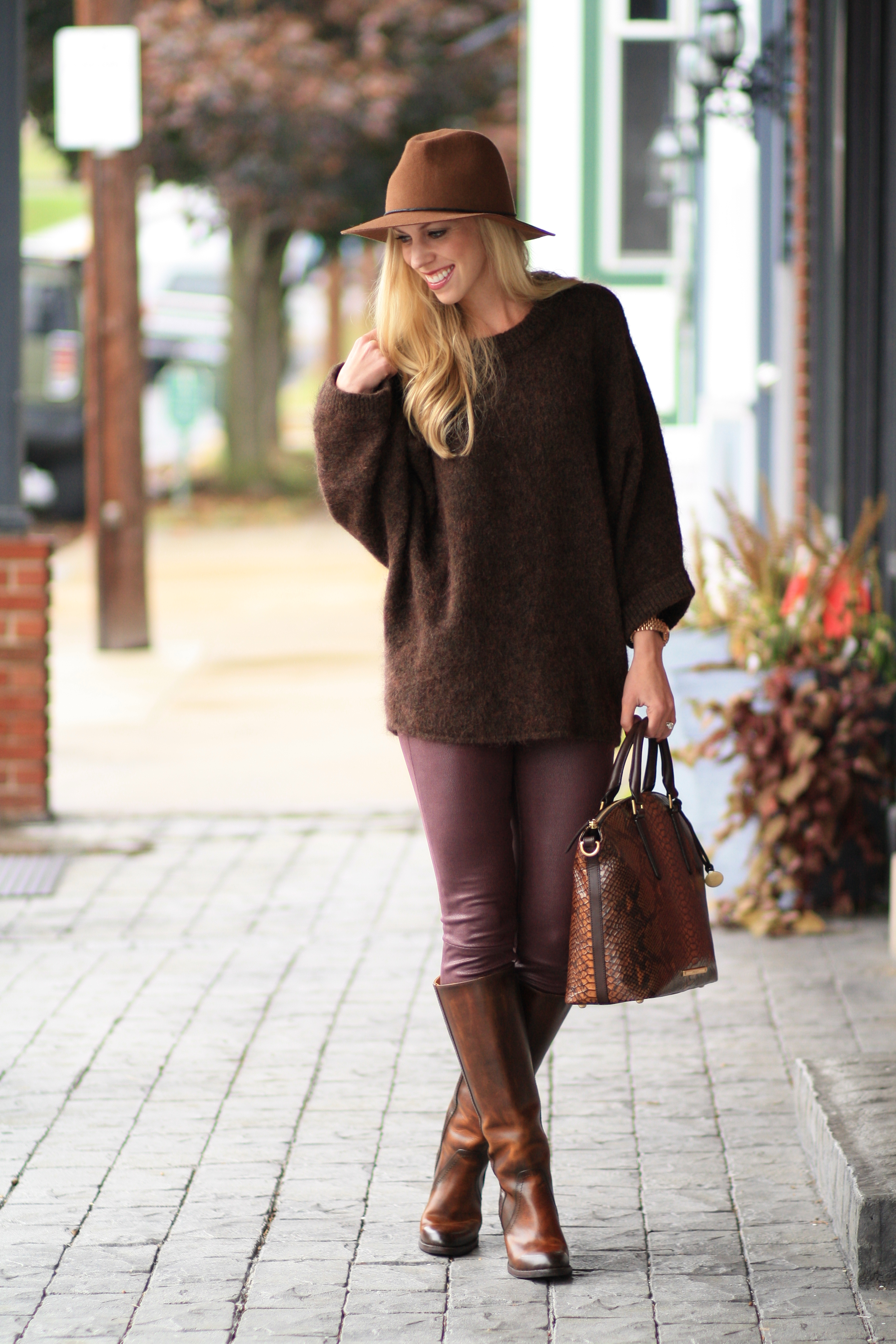 Brown & Burgundy: Oversized sweater, Leather skinny jeans & Tall ...