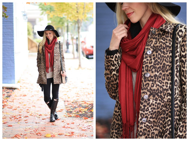 burgundy red pashmina scarf, leopard car coat, black floppy wool hat, leggings with Hunter boots, black original tall glossy Hunter rain boots