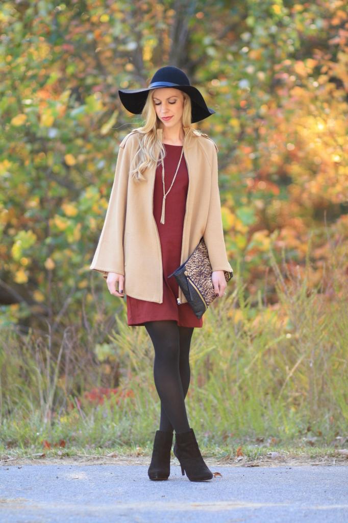 Autumn Light Camel Cape Burgundy Shift Dress Amp Leopard