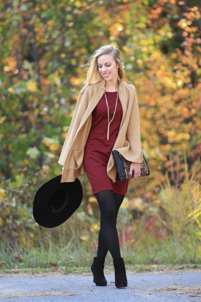Autumn Light Camel Cape Burgundy Shift Dress Amp Leopard