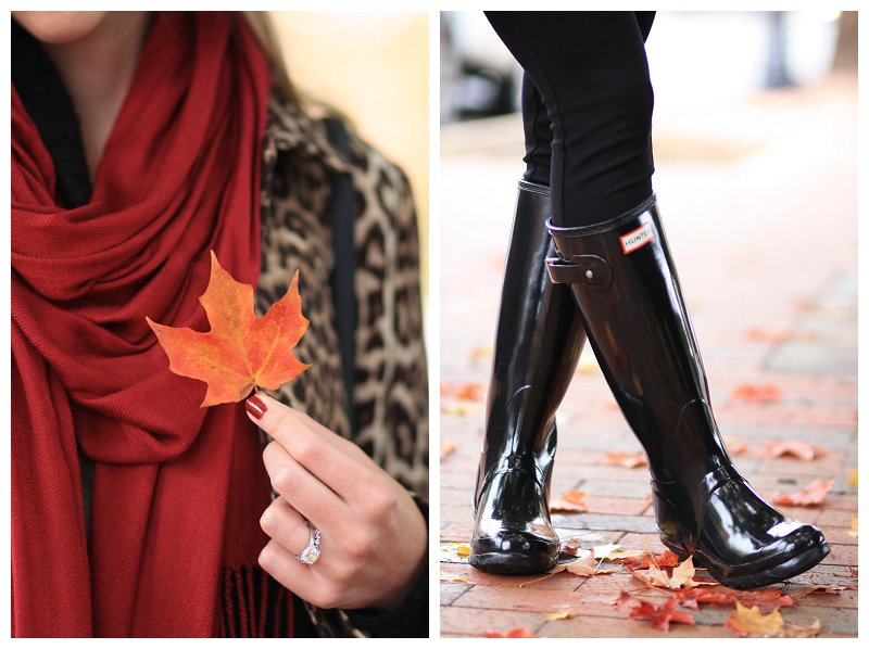 fall leaf, burgundy red pashmina scarf, Hunter black tall glossy boots, Hunter boots with leggings, leopard car coat, fall layers