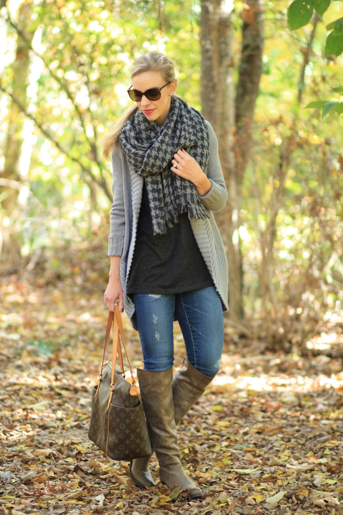 gray cocoon sweater, J. Crew gray houndstooth wool blanket scarf, oversized scarf, AG Adriano Goldschmied distressed legging jeans, FRYE Jane Tall gray boots, Louis Vuitton totally MM tote