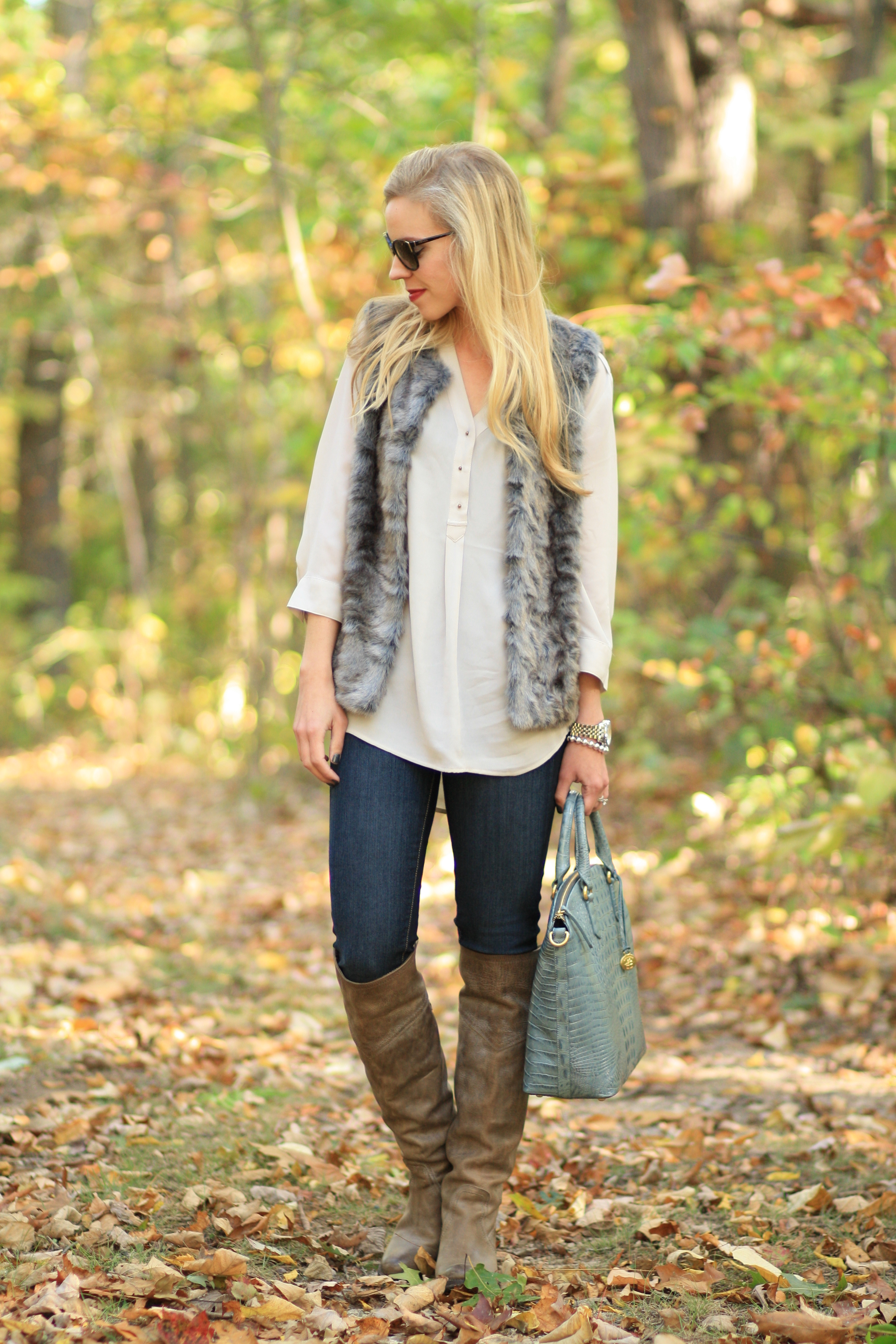 Texture Blend Gray Fur Vest Silky Blouse Amp Over The