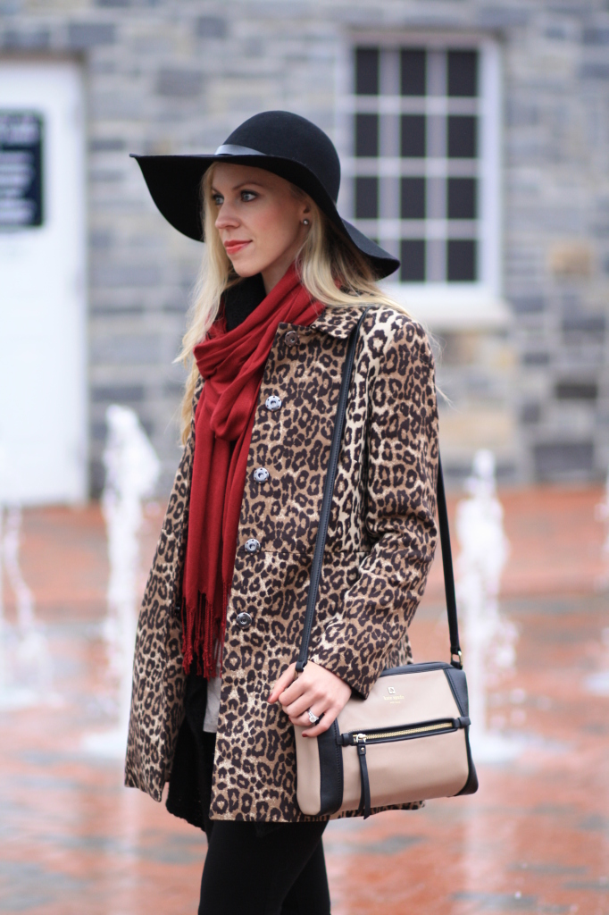 leopard coat, leopard car coat, maroon burgundy red scarf, H&M black wool floppy hat with leather trim, Kate Spade colorblock crossbody bag