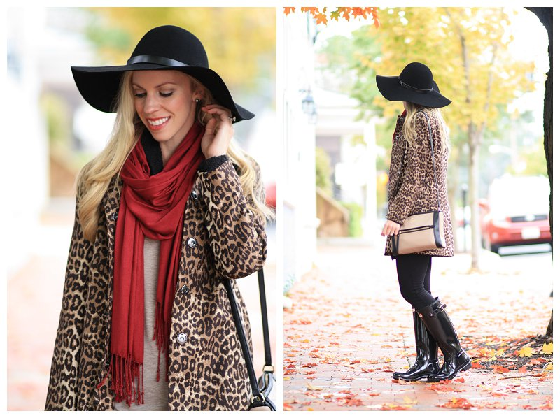 leopard fall coat, leopard car coat, red scarf, H&M black wool floppy hat with leather trim, black tall glossy Hunter boots, Kate Spade colorblock bag