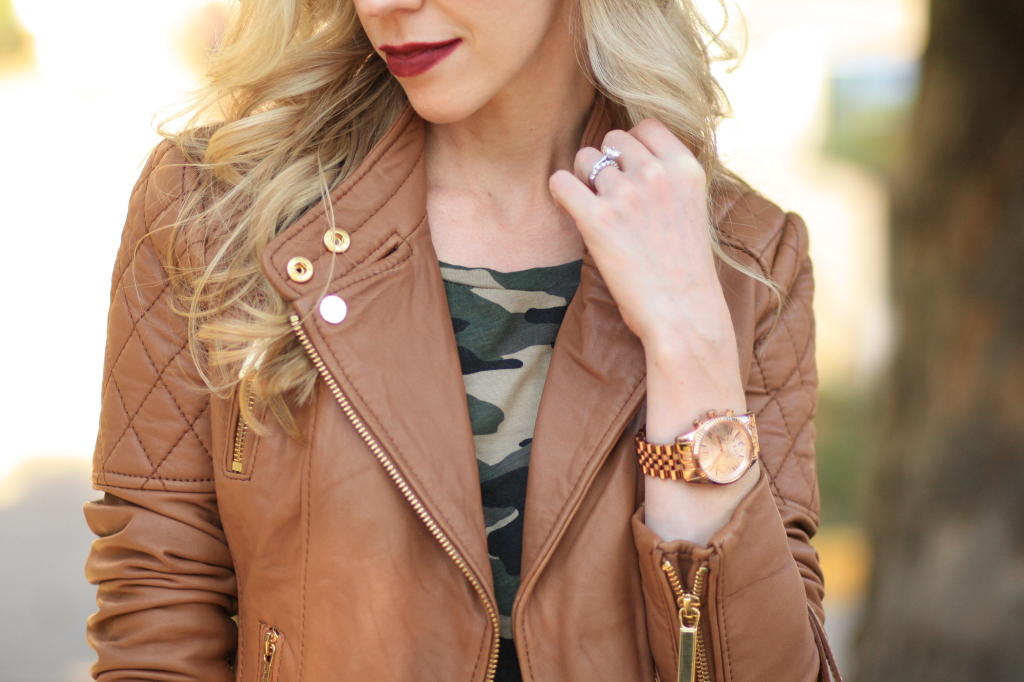 nyx soft matte lip cream copenhagen, dark berry lipstick, camel tan leather moto jacket, Michael Kors leather jacket, camo tee, rose gold Michael Kors lexington boyfriend watch