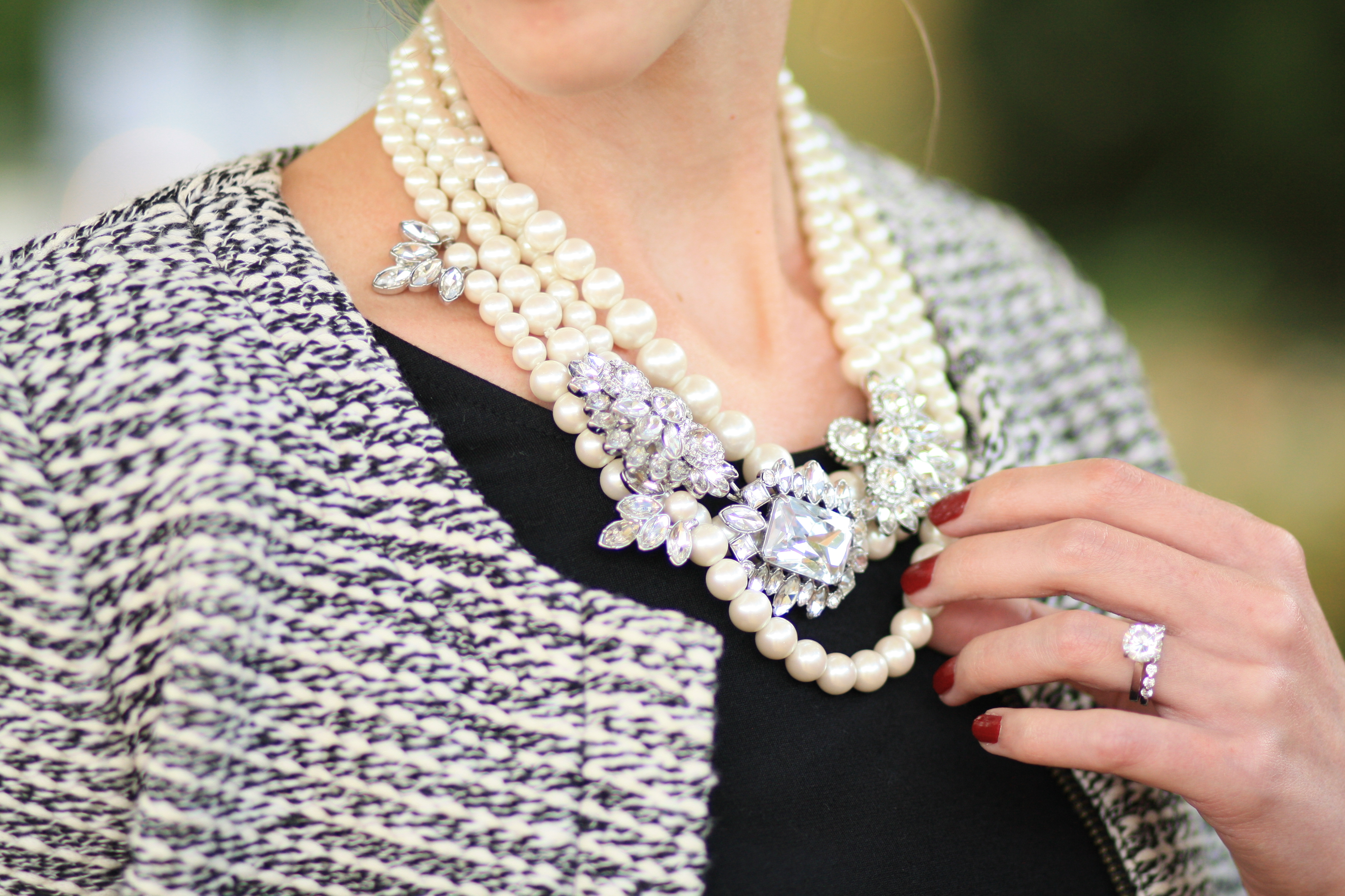 Peplum Tweed Jacket Pearl Statement Necklace Layered Pearl Necklace Pearls With