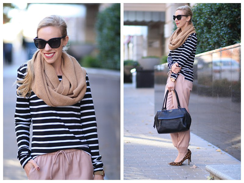 Pattern Play Black And White Stripes Blush Pink Pants