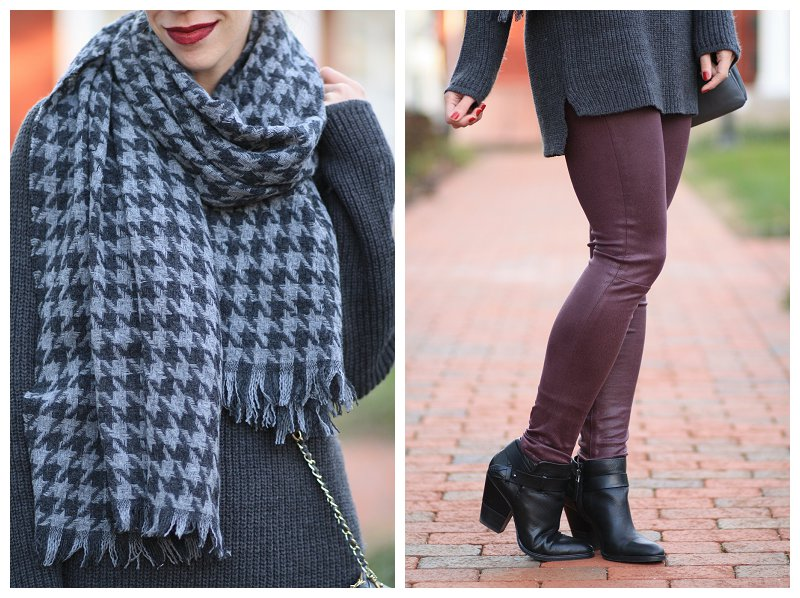 Dolce Vita black leather Haelyn ankle boot, 7 for all mankind burgundy leather skinny jean, gray and burgundy outfit, J. Crew gray oversized houndstooth scarf, blanket scarf