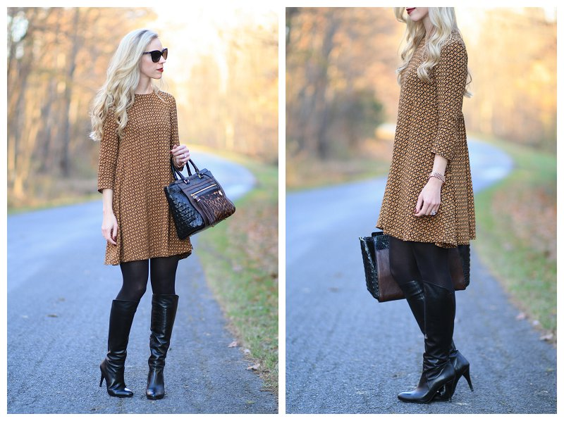c9330b7addcca H&M camel printed A-line swing hem dress, Stuart Weitzman knee high black  leather Park boots, Brahmin Anna leopard print satchel, tights with knee  high ...