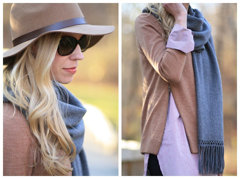 H&M camel wool panama hat, Prada tortoiseshell sunglasses, gray cashmere wrap scarf, camel sweater over tunic button down, J. Crew burgundy stripe endless shirt