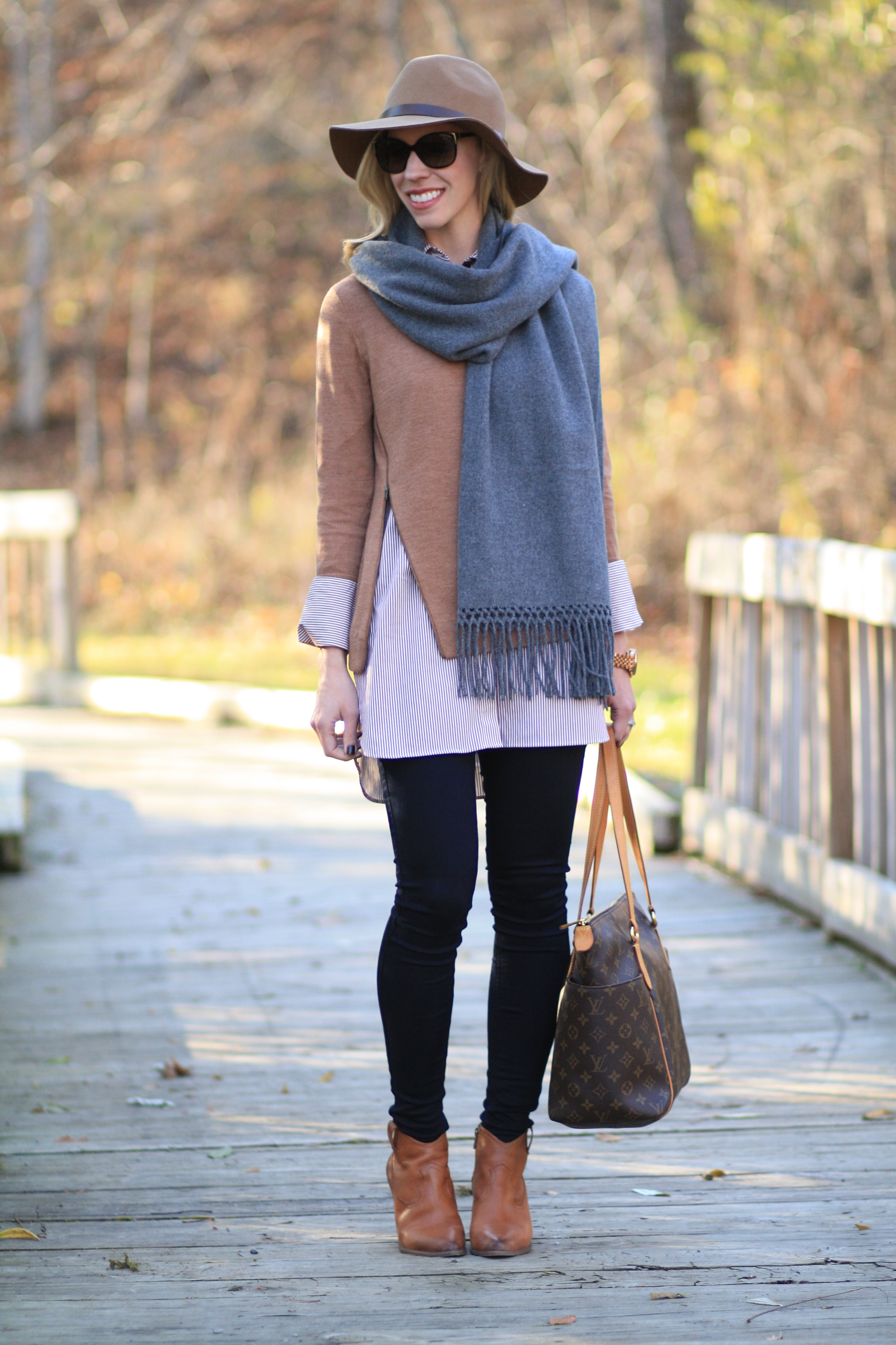Neutral Layers: Camel sweater, Tunic button-down & Wrap scarf }