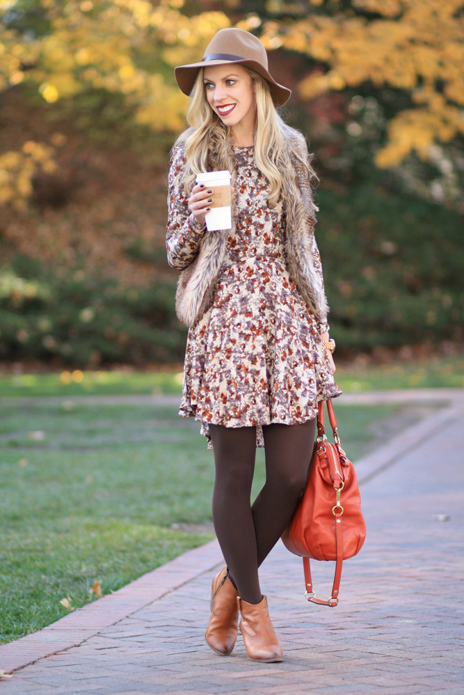 Homestead Floral Dress Faux Fur Vest Amp Western Ankle