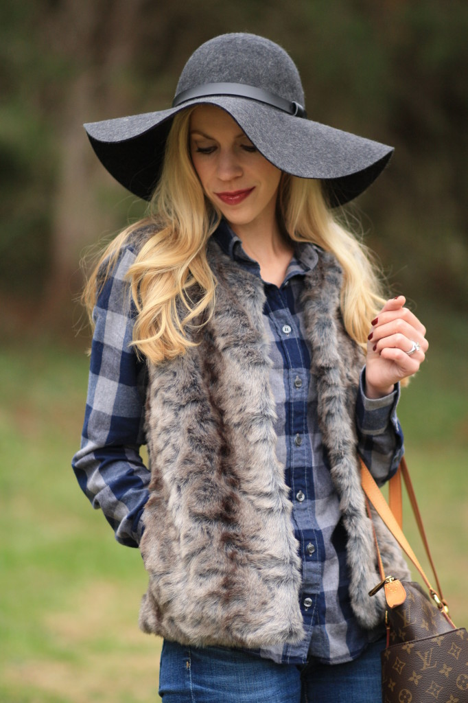 flannel  u0026 fur  buffalo plaid shirt  gray vest