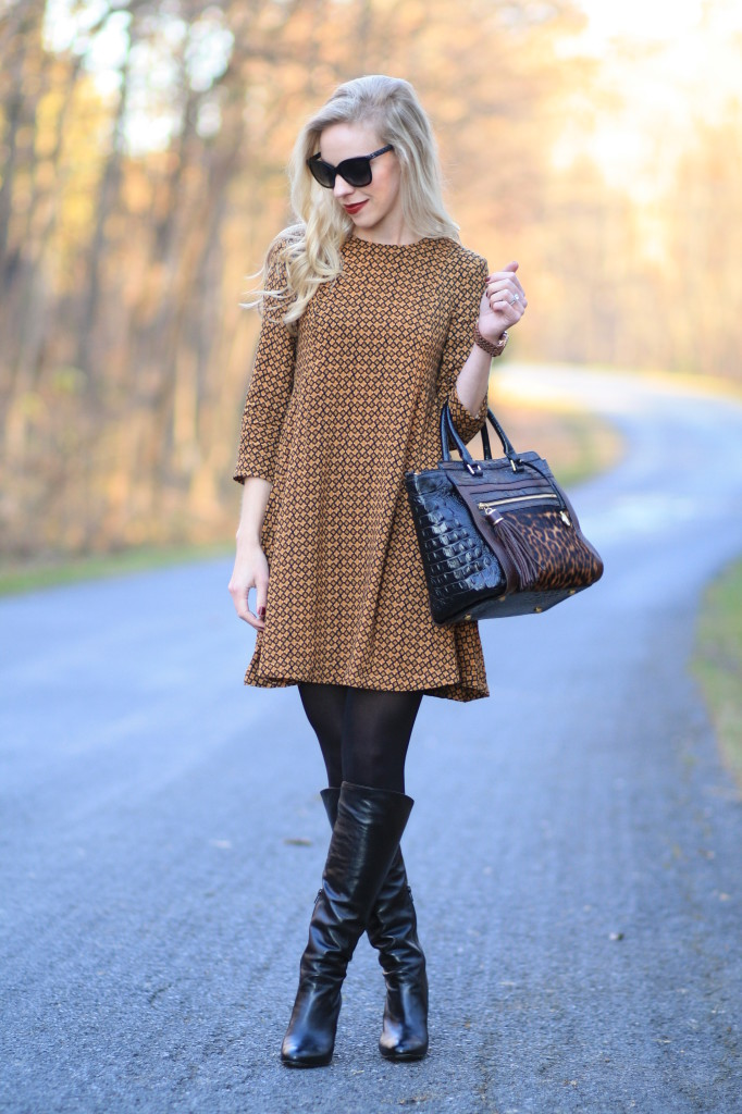 Hm Printed A Line Dress Camel And Black Outfit Tall Leather Boots